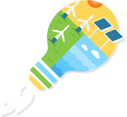An image of a bulb with image of windmills and solar panels